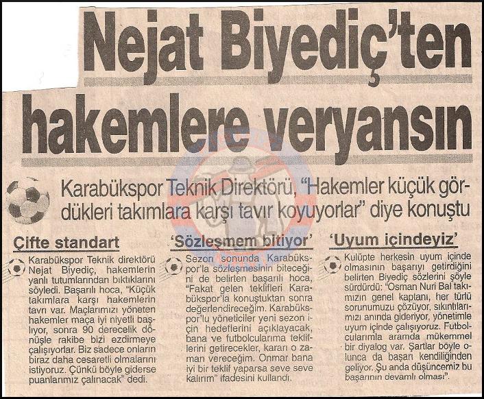 kardemir karabükspor 1997-1998 sezonu teknik direktörü Nejat Biyediç